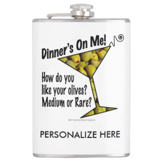 PERSONALIZE COCKTAIL FLASK, DINNER, OLIVE, MARTINI HIP FLASK