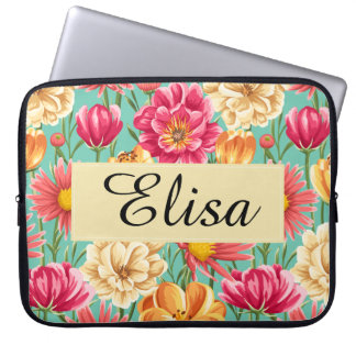 Personalize Colorful spring flower painted pattern Laptop Sleeve