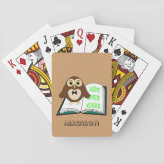 Personalize Cool Cute owl with Alphabet book Playing Cards