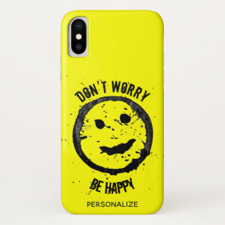 Personalize Cool Stained Happy Smiley face Yellow Case-Mate iPhone Case