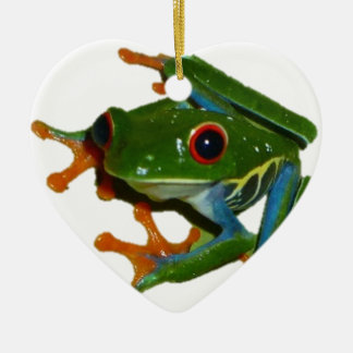 Personalize Costa Rica Red Eyed Frog Ceramic Heart Ornament