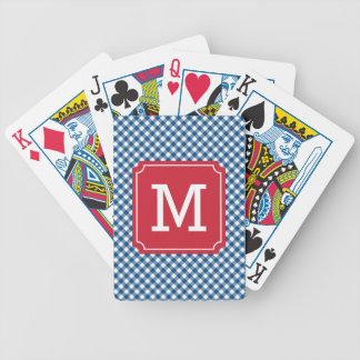Personalize Country Chic Blue Gingham Monogram Poker Deck