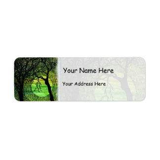 Personalize Cross Hatched Tree on Green Watercolor Return Address Label