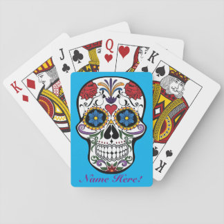 Personalize Custom Artistic Mexican Sugar Skull Playing Cards