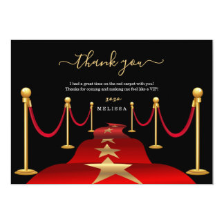 Personalize Custom Red Carpet Theme Thank You Card