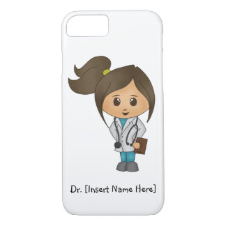 Personalize Cute Brunette Female Doctor iPhone 7 iPhone 7 Case