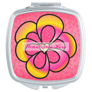 Personalize Cute Flower Compact Mirror