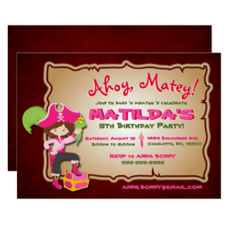 Personalize Cute Pirate Birthday Invitation