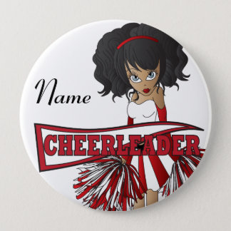 Personalize Cute Red Cheerleader Girl 4 Inch Round Button