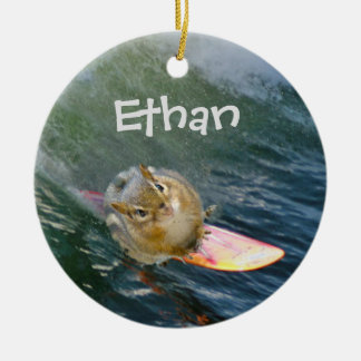 Personalize Cute Surfing Chipmunk Ceramic Ornament