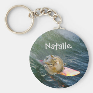 Personalize Cute Surfing Chipmunk Keychain
