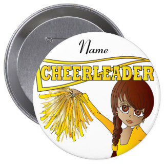 Personalize Cute Yellow Cheerleader Girl Pin