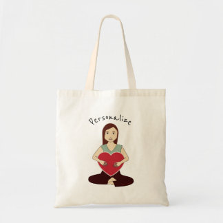 Personalize Cute Yoga Girl holding Red heart