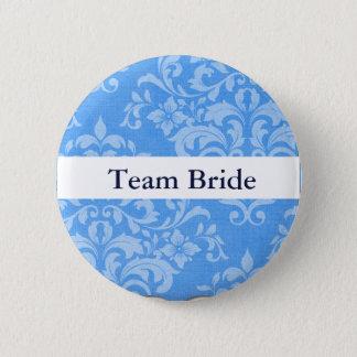 Personalize Damask Wedding Team Bride 2 Inch Round Button