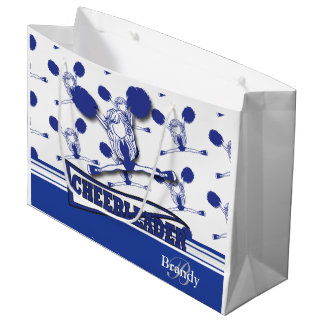 Personalize Dark Blue Cheerleader Large Gift Bag