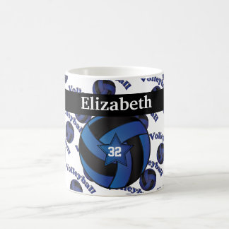 Personalize Dark Blue Volleyball Coffee Mug