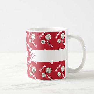 Personalize Dark Red Volleyball Mug