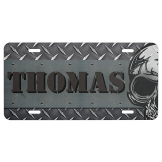 Personalize Diamond Plated Texture With Skull Head License Plate