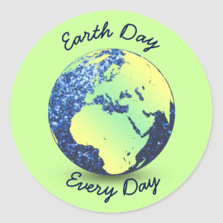 Personalize Earth Day blue sparkles Globe Classic Round Sticker