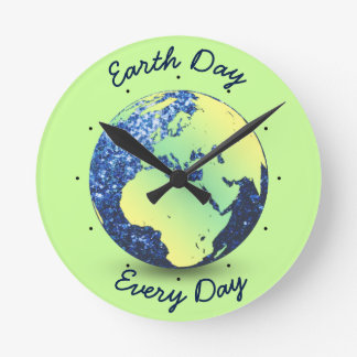 Personalize Earth Day blue sparkles Globe Round Clock