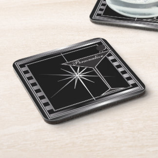 Personalize Elegant Silver Cocktail Design Coasters