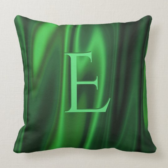 Personalize:  Emerald Green Faux Satin Fabric Throw Pillow