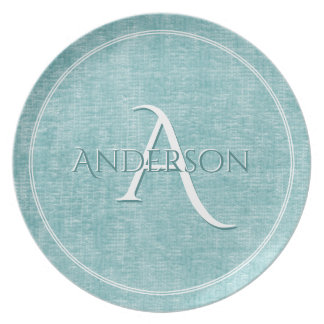 Personalize: Faux Aqua Chenille Textured Look Plate