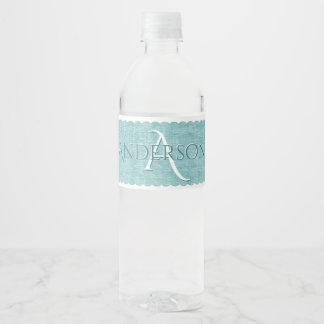 Personalize: Faux Aqua Chenille Textured Look Water Bottle Label