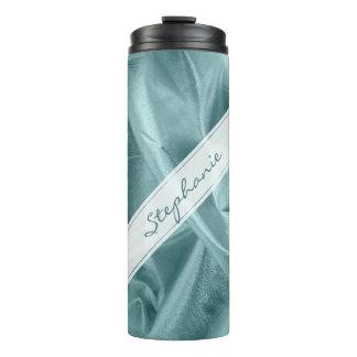 Personalize:  Faux Aqua Lame' Metallic Look Thermal Tumbler