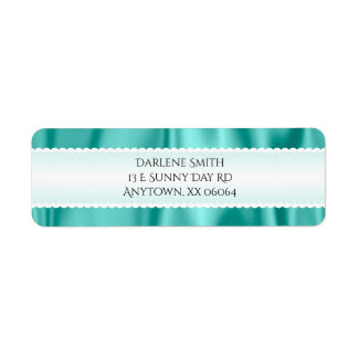 Personalize:  Faux Aqua Satin Fabric Texture Return Address Label