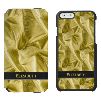 Personalize:  Faux Black and Gold Lame' Metallic Incipio Watson™ iPhone 6 Wallet Case