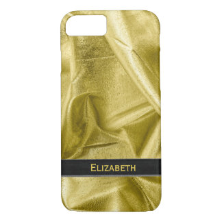 Personalize: Faux Black and Gold Lame' Metallic iPhone 7 Case