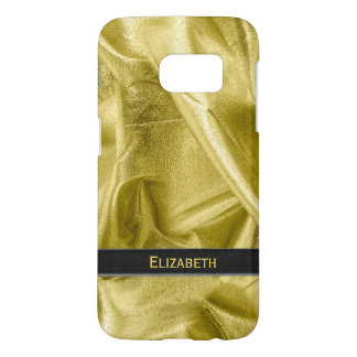 Personalize:  Faux Black and Gold Lame' Metallic Samsung Galaxy S7 Case