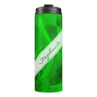 Personalize:  Faux Emerald Green Lame' Metallic Thermal Tumbler