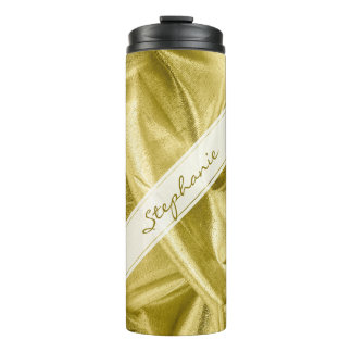 Personalize:  Faux Gold Lame' Metallic Look Thermal Tumbler