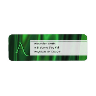 Personalize:  Faux Green Satin Fabric Texture Return Address Label