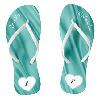 Personalize:  Faux Satin Fabric Look of Luxury Flip Flops