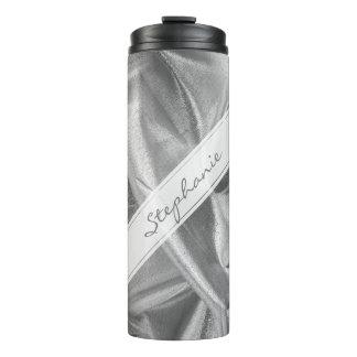 Personalize:  Faux Silver Gray Lame' Metallic Thermal Tumbler