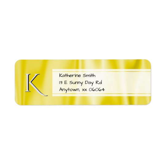 Personalize:  Faux Yellow Satin Fabric Texture Return Address Label