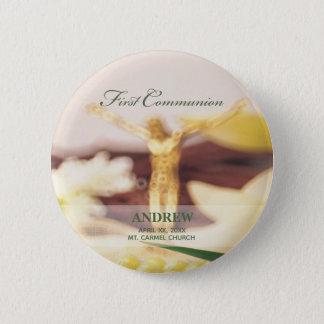 Personalize, First Communion Congratulations 2 Inch Round Button