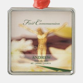 Personalize, First Communion Congratulations Metal Ornament