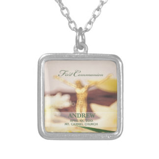 Personalize, First Communion Congratulations Silver Plated Necklace