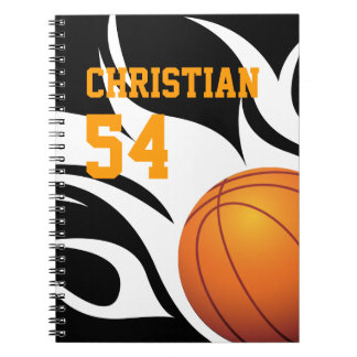 Personalize Flaming Basketball B/W Spiral Notebook