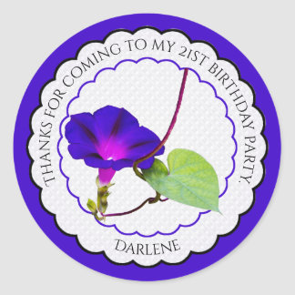 Personalize:  Floral Photography Morning Glory Classic Round Sticker