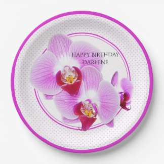Personalize:  Floral Photography Purple Orchid Paper Plate