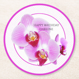 Personalize:  Floral Photography Purple Orchid Round Paper Coaster