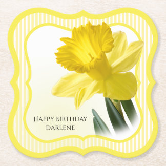 Personalize:  Floral Photography Yellow Daffodil Paper Coaster