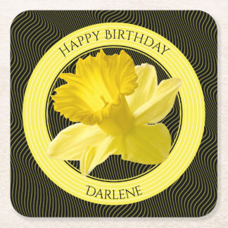 Personalize:  Floral Photography Yellow Daffodil Square Paper Coaster