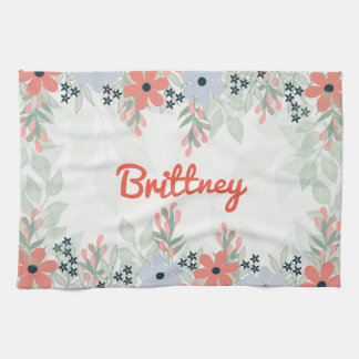 Personalize Flower Print Kitchen Towel