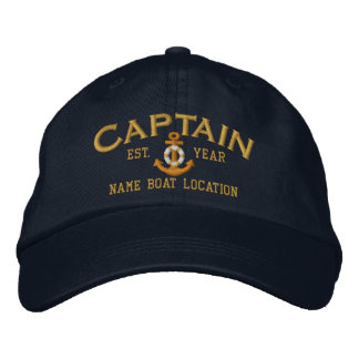 Personalize for Year Name Captain LifeSaver Anchor Embroidered Hats